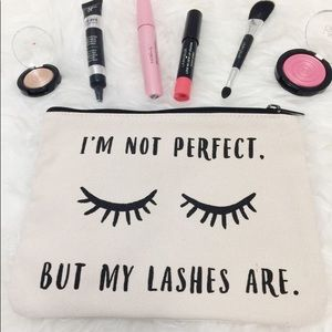 """Handbags - """"I'm not perfect but my lashes are"""" makeup bag"""